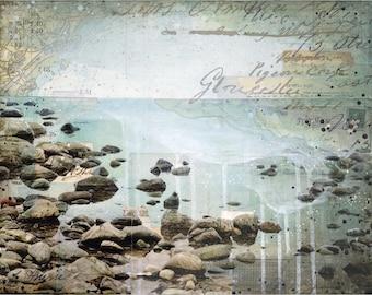Pigeon Cove art print | Coastal artwork | Mixed Media Poster | Beach Art print | Gloucester MA Art