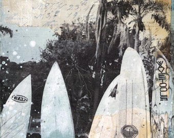 The Sandbox print | Coastal decor art print | Mixed Media Poster | California Surf Art | Beach Art | Paper Print