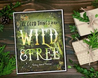 Wild & Free - paper print - nature word art