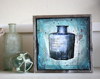 """Message In A Bottle No. 6 - 7"""" x 7"""" original framed mixed media painting on canvas"""