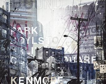 Inbound | Boston Art Print | Abstract Boston Skyline | Mixed Media Boston Art | 8x10 Art Print |
