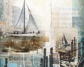 Fair Winds No. 1 | Sailing art print | Mixed Media Poster | New England Art | Beach Art | Sailing Poster | Paper Print