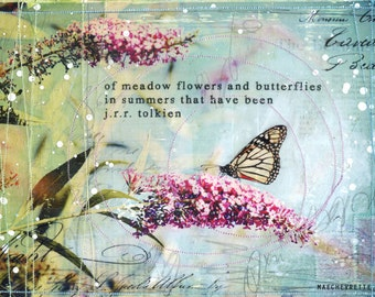 """Day 9 - 11""""x14"""" paper print - summery butterfly mixed media art"""