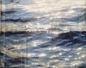 Harbor Glow | Coastal decor art print | Mixed Media Poster | Beach Art print | Paper Print