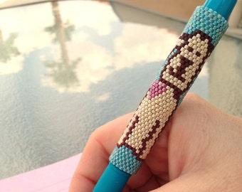 Pen Cover Pattern - Love Pup - Peyote Pattern