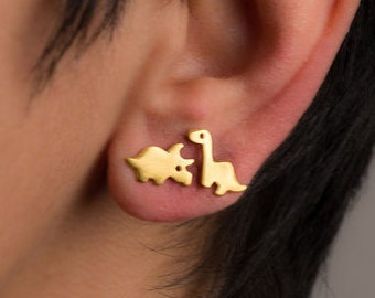 Valentine S Day Gifts Star Cut Out Dinosaur Style Baby Stud Earrings In 14k Rose Gold Over