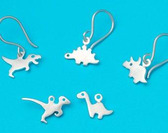 Dinosaur Dangle Earrings sterling silver Halloween T Rex Kid jewelry Teen Earrings Dino Jewelry dainty Triceratops Velociraptor Stegosaurs
