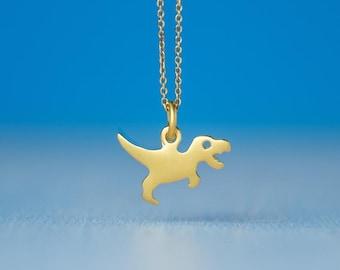 Tiny Solid Gold T Rex Dinosaur Necklace Tyrannosaurus 14k solid Rose Gold Pendant Gift Unisex Men Teen Women Dainty Dino Jewelry Charm