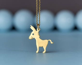Donkey Necklace Mule Necklace Small Farm Animal Pendant Sterling Silver Kids Teen Jewelry horse pendant charm Birthday gift