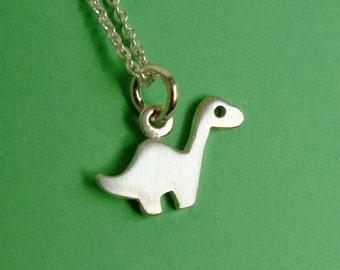 Dinosaur  Necklace Tiny Brontosaurus Pendant Sterling Silver Kids Teens Boy Girl Cute  Monster mom dino  Jewelry jurassic gift apatosaurus