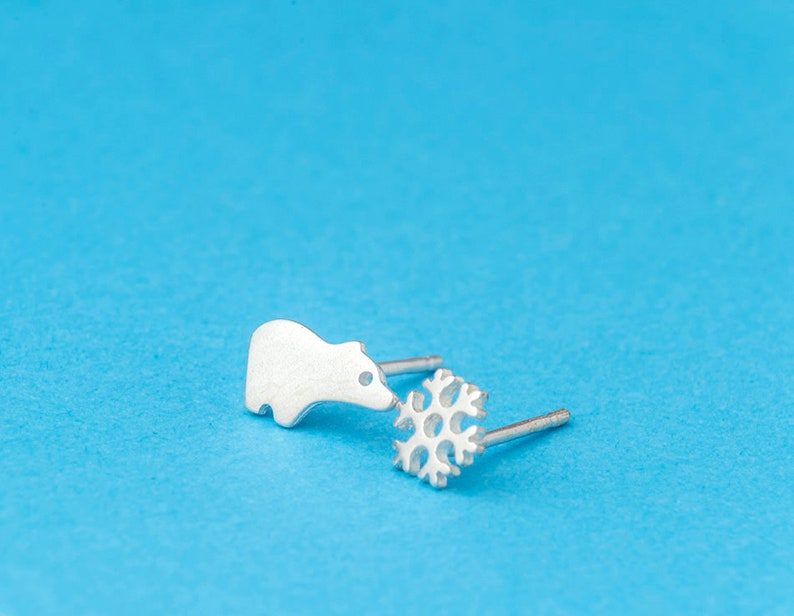 Polar Bear and Snowflake Earrings Cute Tiny Studs sterling silver snow arctic winter Gift teen Animal kids  mismatched jewelry Christmas
