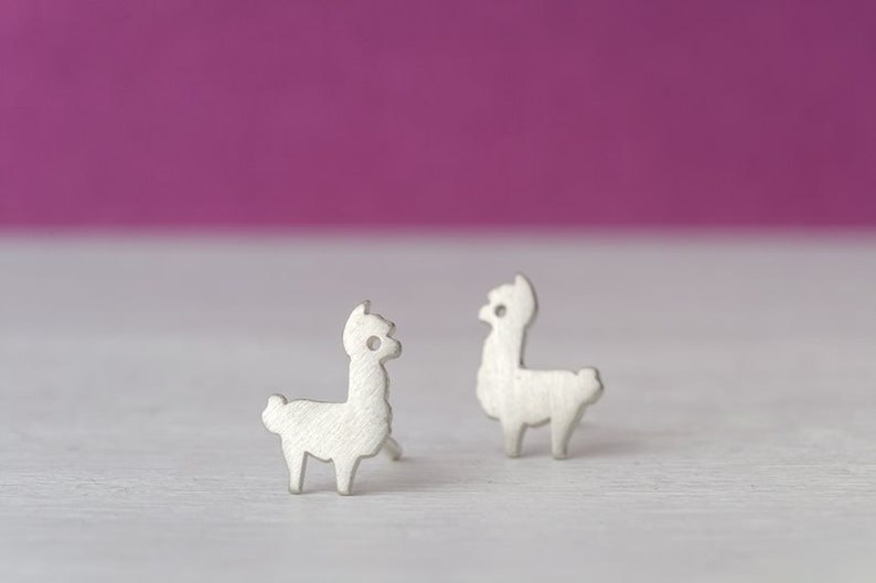 Tiny Alpaca and Cactus Earrings Llama Studs sterling silver Sheep gold studs Minimal Jewelry Kids Teen gift for her mom valentine