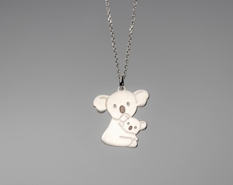 Koala Necklace sterling silver Family Mother Baby Necklace Kid Necklace Teen Necklace New Mom Jewelry gift charm Birthday pendant