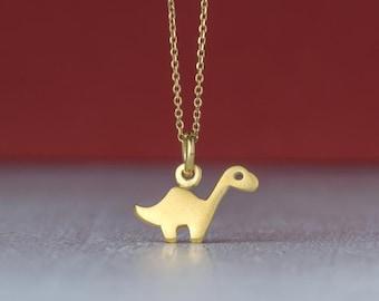 Tiny Solid Gold Brontosaurus Dinosaur Necklace Apatosaurus 14k solid Rose Gold Pendant Gift Unisex Men Teen Women Dainty Dino Jewelry Charm