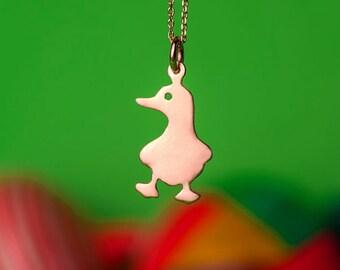 Duck Necklace Bird Small Gold Duck Pendant Sterling Silver Kids Teen Jewelry Farm Animal Bird Pendant Rose Duck Charm Birthday gift