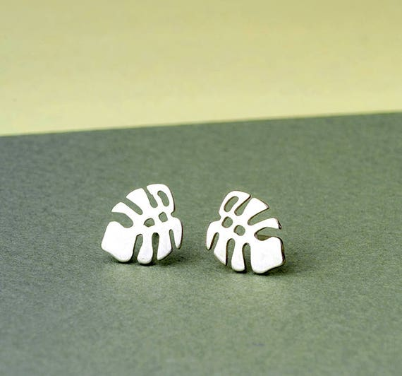 Plant Stud Cute Leaf Design Stud Tiny Leaf Sterling Silver Stud Dainty Studs Ear Jewelry Gift For Her Leaves Earrings Leaves Studs