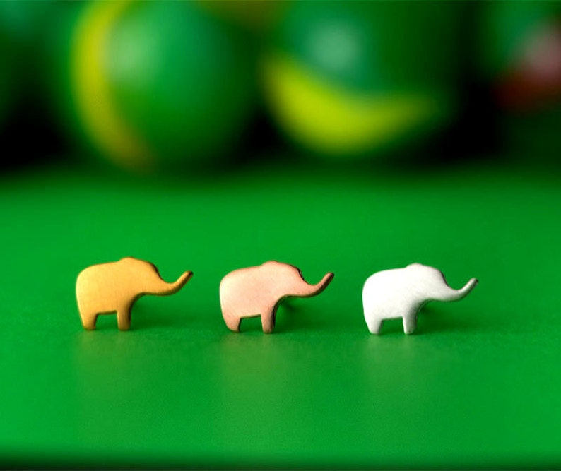 Extra Tiny Elephant Earrings sterling silver studs post under image 0