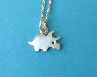 Tiny Dinosaur Necklace Dinosaur Charm Triceratops Pendant Sterling Silver Dino Pendant Dinosaur Charm Kids necklace boys Birthday necklace