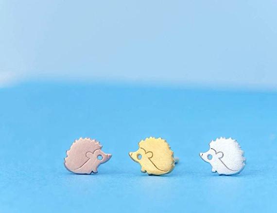 Hedgehog Easter Gift Cute Earrings stainless steel animals studs hedgehogs