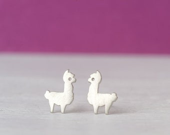 Tiny Alpaca Earrings Llama Studs sterling silver Sheep gold studs Minimal Jewelry Kids Teen gift for her mom valentine