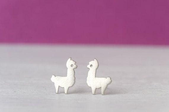 Girls Ladies Sterling silver studs Alpaca Earrings Gift purse