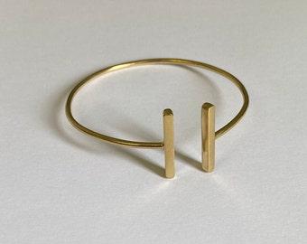 Adjustable Open Twin Bar Bracelet
