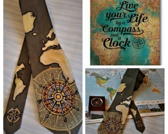 "Hand painted Silk Tie ""Lets travel!"""