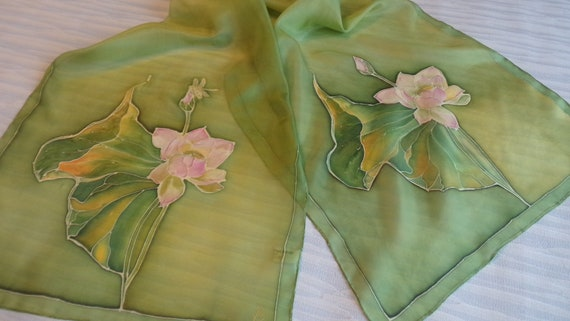 Custom order hand painted silk scarf lotus flower and etsy image 0 mightylinksfo