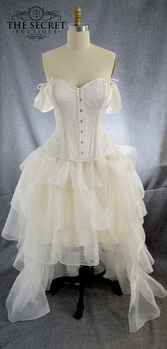 Steampunk Wedding Dresses | Vintage, Victorian, Black steampunk wedding dress high low ivory dress is made to measure $850.00 AT vintagedancer.com