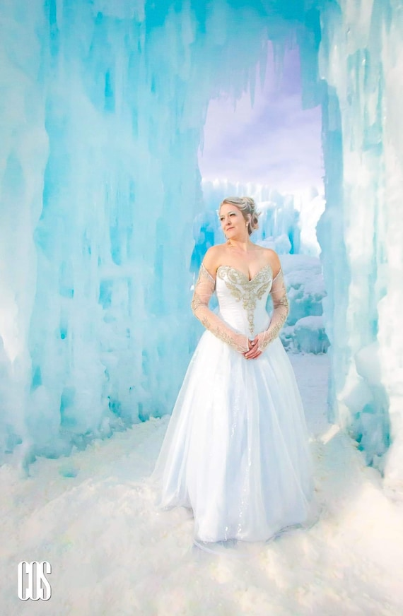 Winter wedding dress/sequin tulle dress/blue wedding   Etsy