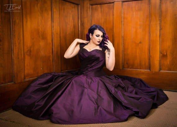 Purple wedding dress-gothic wedding dress- alternative bridal gown-plus  size wedding dress