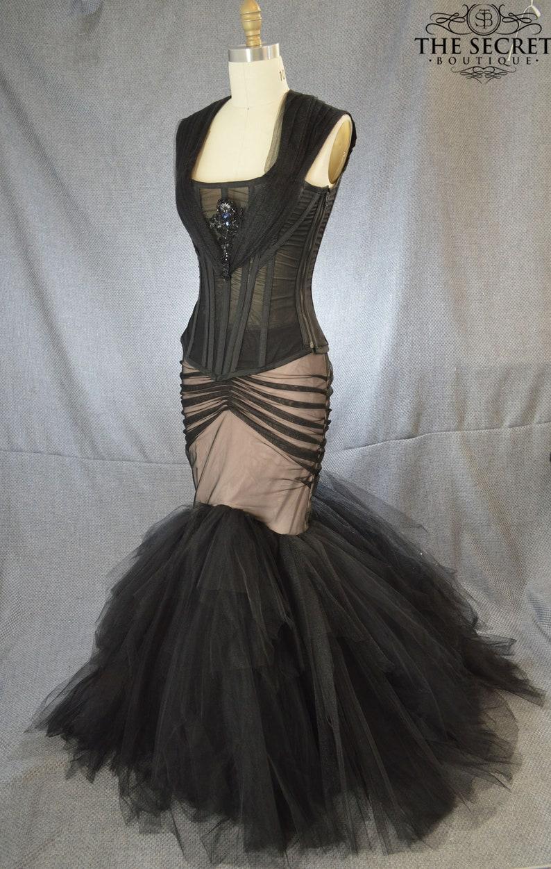 912a1a23ae28 Gothic wedding dress-black mermaid wedding dress-led wedding | Etsy
