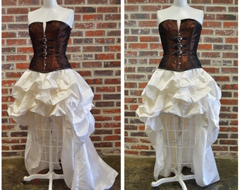 Steampunk wedding dress, couture hi low bustle dress with copper corset