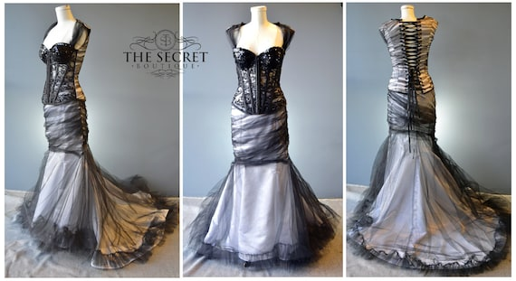 gothic wedding gown, black and white romantic couture wedding gown, custom  made