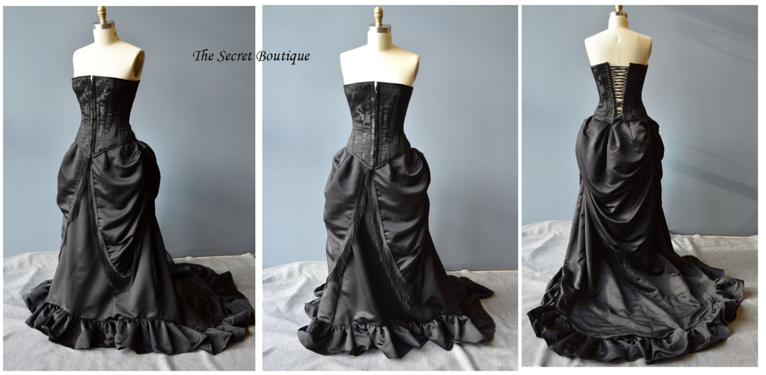 Gothic Wedding Gown Victorian Bustle Skirt And Corset Made