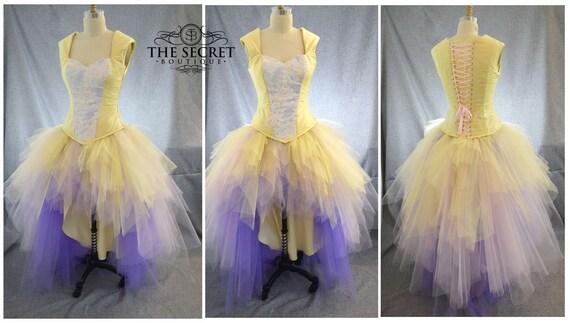 yellow wedding dress fantasy wedding dress ombre wedding dress fairy wedding dress color wedding dress plus size high low wedding dress
