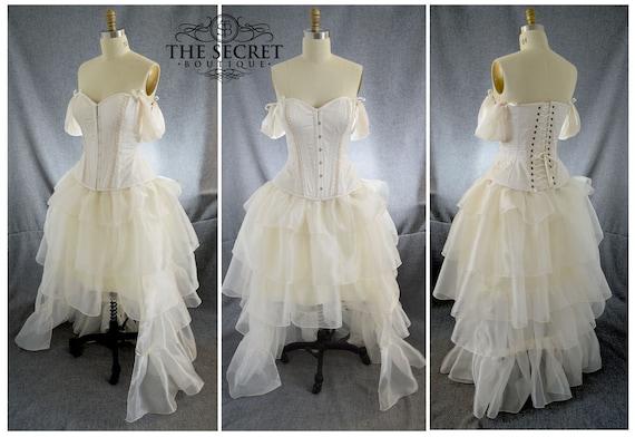 Steampunk wedding dress-two piece wedding dress-plus size wedding dress  ivory-alternative wedding dress-corset wedding dress-ruffle dress