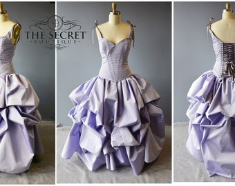 Lavender wedding gown, custom made couture corset bridal gown