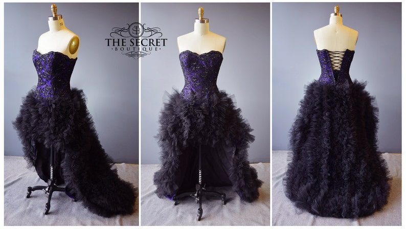 Gothic wedding dress-purple and black wedding dress-plus size | Etsy
