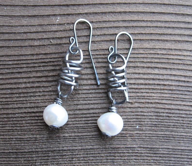 Freshwater Pearl Earrings Steel Sterling Silver