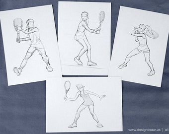 Tennis Action drawing postcards (set of 4)