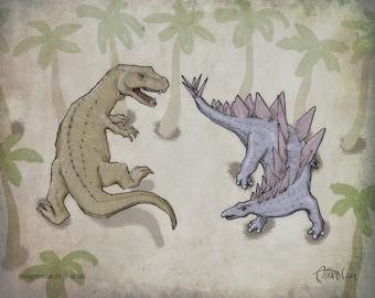 Allosaurus vs Stegosaurus (8x10)