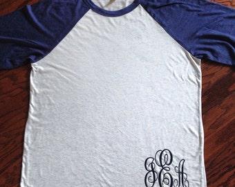 custom monogram 3/4 sleeve shirt