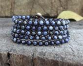 Sodalite Beaded Wrap Unisex Bracelet, Men Wrap Bracelet, Gifts for him, for her