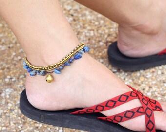 Lapis lazuli Brass Chain Anklet