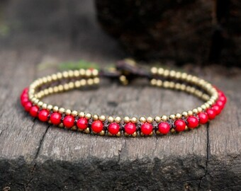 Coral Bead Brass Anklet