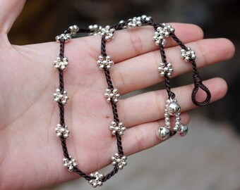 Flower Silver Braided Necklace