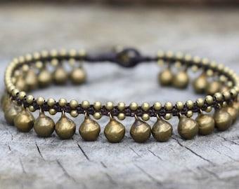Brass Bell Anklet or Bracelet, Hippie Ankle Bracelet, Women Wedding Ankle Bracelet, Dance Anklet