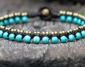 Simple Turquoise Brass Bracelet