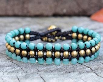 Turquoise and Aquamarine Flat Brass Bracelet